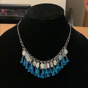 Charming Charlie blue & silver statement necklace
